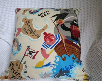 Pirate cushion cover.  Hand made. Designer fabric.