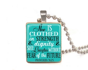 Blue Proverbs Necklace, She is Clothed in Strength and Dignity and She Laughs Without Fear of the Future, 31:25 Necklace, Verse Necklace