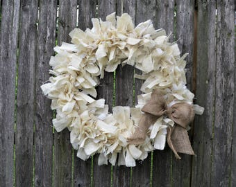 "19"" or 24"" Farm House, Shabby Chic Cream & White Burlap Wreath with Natural Jute Bow - Wedding, Holiday, Spring, Summer, Natural, Neutral"