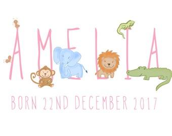 Children's name animal word art illustrated poster