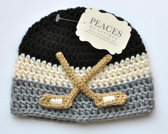 Newborn Hockey Hat - Black, White, and Gray Hockey Baby Hat