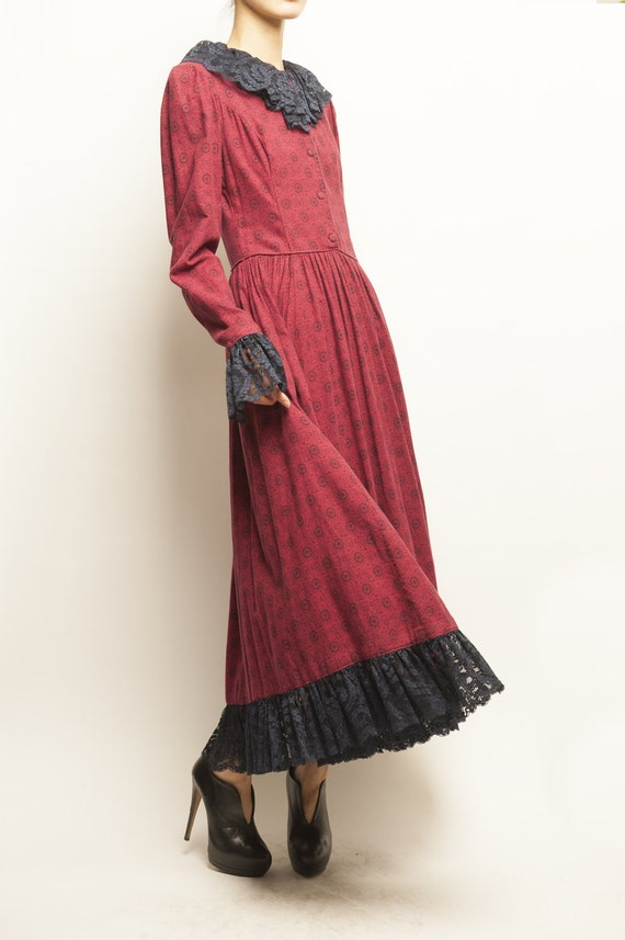 1930's-1940's victorian paisley motif romantic collerette long dress