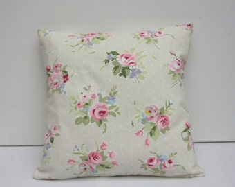 Cushion cover, Pillow Cover, Beige with Pink, cottage chic, floral pillow case, Pink Rose, Various size options 14 inch up to 24 inch