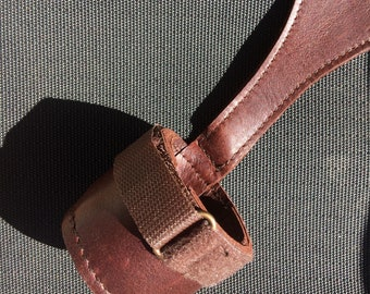 bassoon or fagott seat strap leather adjustable with boot cup,handmade and signed , perfect work and quality