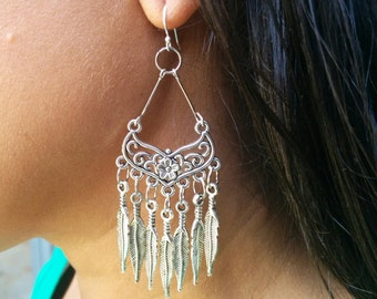 native American chandelier pewter feather earrings