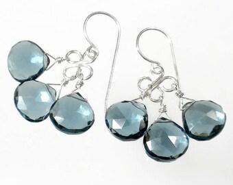 London Blue Chandelier Earrings Blue Drop Earrings Blue Briolette Earrings London Blue Earring Sterling Silver