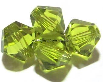 Swarovski Crystal Beads 25pcs 5301 LIGHT OLIVINE 6MM Faceted Bicone Bead