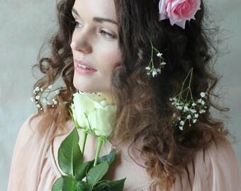 Pink velvet flower hairband, flower crown, rose hairpiece, festival flowers