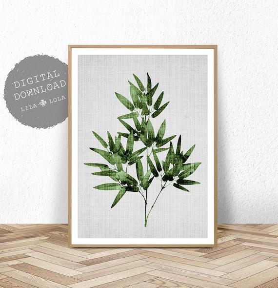 Bamboo Leaf Print, Tropical Wall Art, Botanical Printable, Large Poster, Digital Download, Tropical Bamboo Leaf Wall Art Print