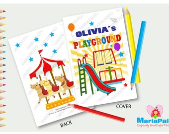 6 Playground Coloring Books Birthday Party Personalized Favors A1081