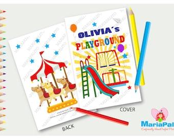 6 Playground Coloring books, Playground Birthday Party, Personalized Coloring Books Party Favors  A1081