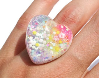 Magical Girl Ring Rainbow Glow in the Dark Sparkly Statement Ring Sprinkle Confetti Iridescent Jewelry Rave Ring Candy Heart Jewelry