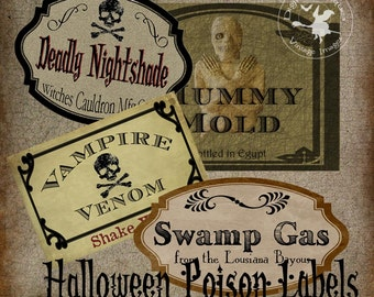 Halloween Poison Labels Vintage Witch's Cabinet  Digital Download