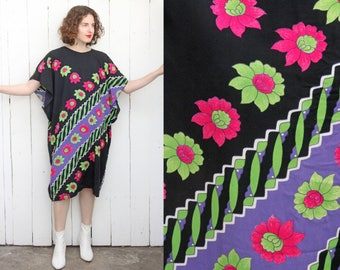 Vintage 70s Caftan | 70s Black Rayon Caftan with Colorful Floral Print | Small S Medium M Large L