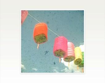 CLEARANCE SALE! Nursery Art, Kids Room Decor, Paper Lanterns Photograph, Hot Pink, Neon Yellow - Lanterns