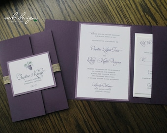 Rustic Eco-Friendly Winery Wedding Pocketfold Invitation with Grapes - Sample
