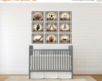 FLASH SALE til MIDNIGHT Sports Wall Art,  Set of Nine photo prints, Boys Nursery Decor, Rustic sports Decor, Vintage Sports art, Boys Sports