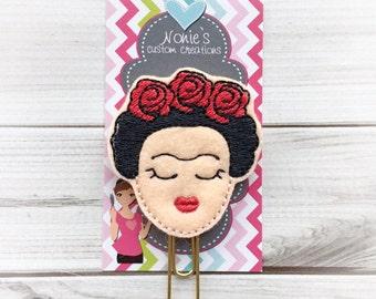 Frida Paper Clip- Frida Paperclip - Frida Kahlo Inspired Bookmark - Frida Feltie - Planner Accessory