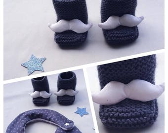 Baby blue white mustache and steel wool