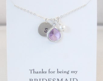 Thanks for being my Bridesmaid,Bridesmaid Necklace,Lavender,Alexandrite,Purple Bridesmaid,Bridesmaid,Initial Necklace,Necklace,Bride,Wedding