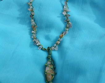 Pure citrine crystal handmade macrame necklace made from waxed cotton (boho/healing)