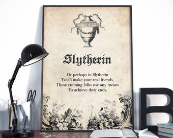 Slytherin, Sorting Hat Poem, Slytherin Snakes, Harry Potter Print, Slytherin Print, Slytherin Quote, with antique illustrations