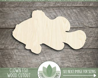 Wood Clown Fish Shape, Unfinished Wood Fish Laser Cut Shape, DIY Craft Supply, Many Size Options, Blank Wood Shapes