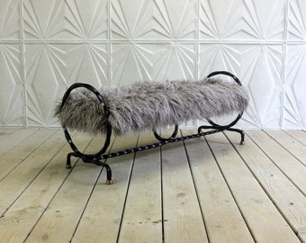 Antique Wrought Iron Brass Bench Twisted Hairpin Circle Rings Grey Faux Fur Mid Century Modern Atomic Sculptural MCM Window Seat
