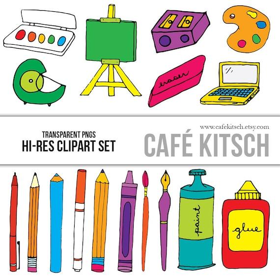 instant download art supplies clip art hi res transparent rh etsy com Art Supplies Clip Art Black and White Art Clip Art