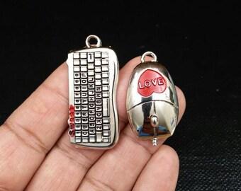 Mouse Keyboard Charms Couples Lovers Jewelry Love Sweet Funny Pendants For Necklace Earrings Boyfriend Girlfriend Husband Wife Love Pendants