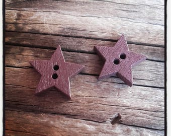wood set of 2 buttons: Star Brown 19 mm star shape