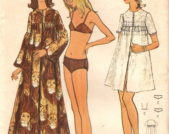 Butterick 6232 Bikini &Caftan Cover-up Side Button Briefs Closure Bust 34 Vintage 1970s