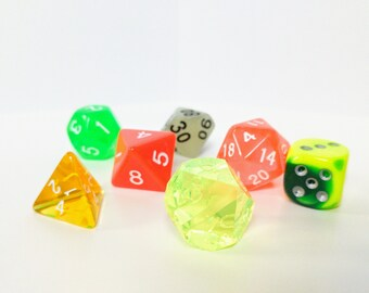 Polyhedral RPG Dice Set -- Acid Arrow -- Dungeons and Dragons, Pathfinder, RPG dice set with free dice bag