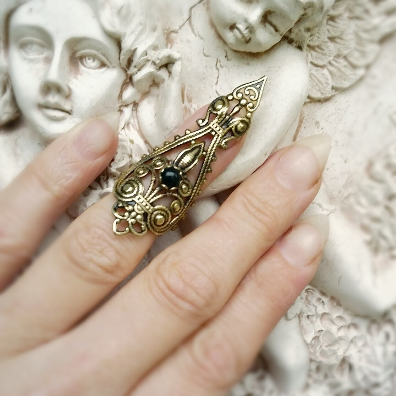 Raven\'s Dire Nail Ring Claw Ring Vintage Brass filigree