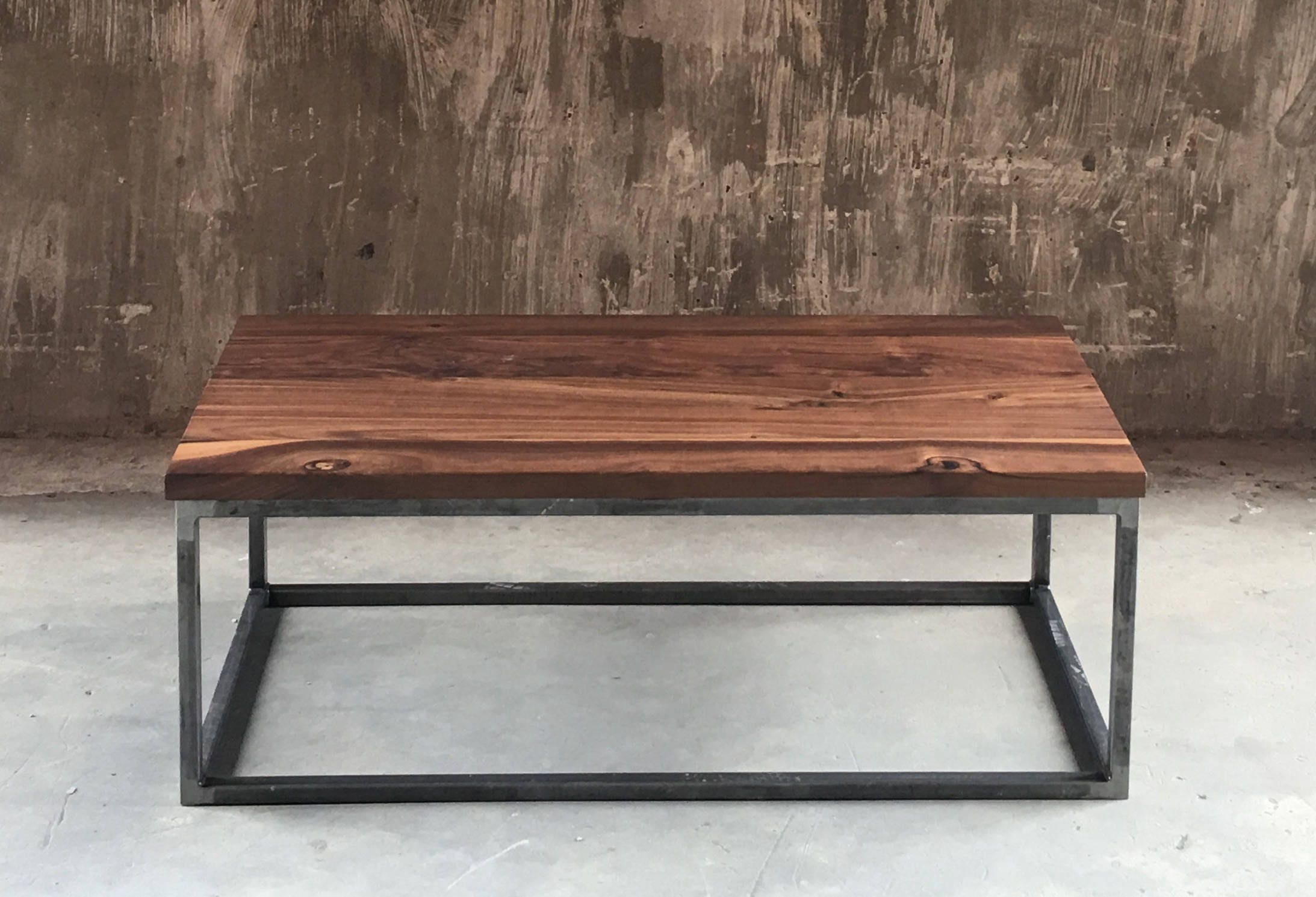 Square Frame Walnut Coffee Table Box Frame Solid Wood