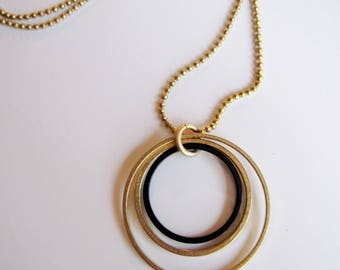 Gold and Black Circle Necklace, Geometric, Modern, Brass Ball Chain, Geometric Jewelry, Long Necklace, Redpeonycreations