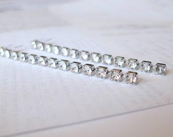 Threader earrings-swarovski crystal threaders-swarovski crystal long earrings-