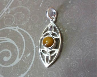 Silver Pendant with triquetra and Tiger eye, pagan, wiccan, Crystal therapy, natural stone jewlery jewlery