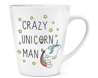 Crazy Unicorn Man 12oz Latte Mug Cup