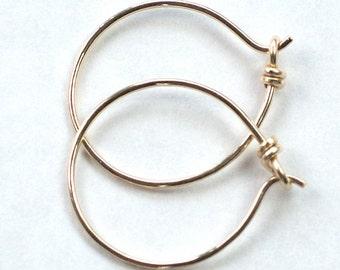 "14K Gold Filled Small Hoops, Sleeper Earrings, 3/4"" Diameter, Gold Filled Earrings, Gold Hoop Earrings, Gold Filled Hoops"