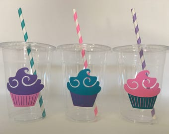 Cupcake party cups, Cupcake Birthday Party Cups, Sweet Treats Party Cups
