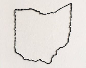 Ohio Outline hand embroidery new home gift