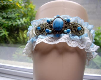 Steampunk Ivory Cream Blue Beaded Gem Stone Gear Cog Wedding Garter