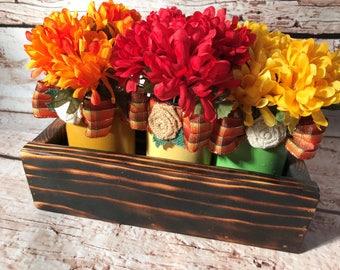 Fall Table Centerpieces - Thanksgiving Table Decor - Mantle Centerpiece - Wood Planter Box - Mason Jar Centerpieces - Decorative Boxes