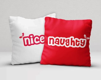 Christmas Pillow Set, Throw Pillow Covers, Holiday Decor, Christmas Decorations, Xmas Pillow Covers, Naughty and Nice Pillow Cases, 16x16