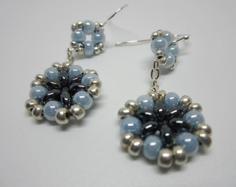 Seed Bead Earrings, Gun Metal Gray, Silver & Blue Beaded Earrings, Dangle Earrings