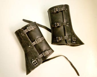 Black Leather Army Spats Gaiters Steampunk Motorcycle 50s