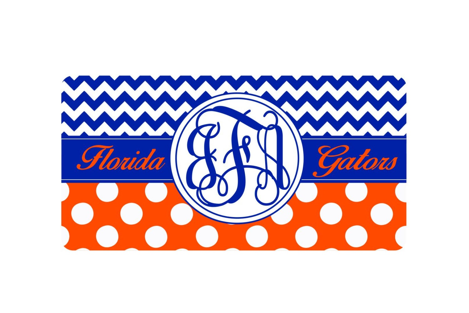 monogram car tag Florida car tag orange and blue birthday