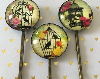 Birdcage Bobby Pins, Set if 3, Bird Bobby Pins, Birdcage Hair Pin Set