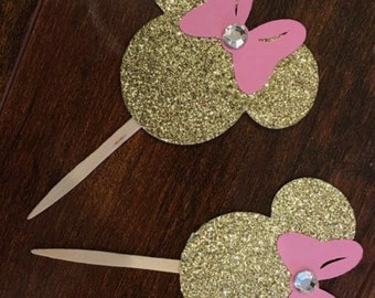 6 Minnie Mouse cupcake toppers